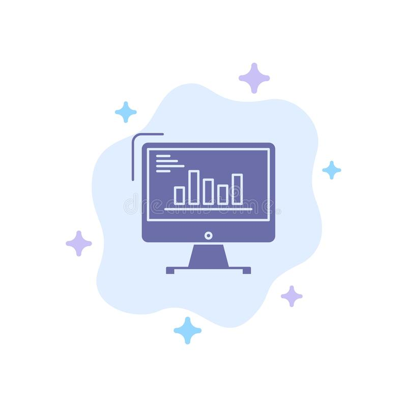 Chart, Analytics, Business, Computer, Diagram, Marketing, Trends Blue Icon on Abstract Cloud Background royalty free illustration