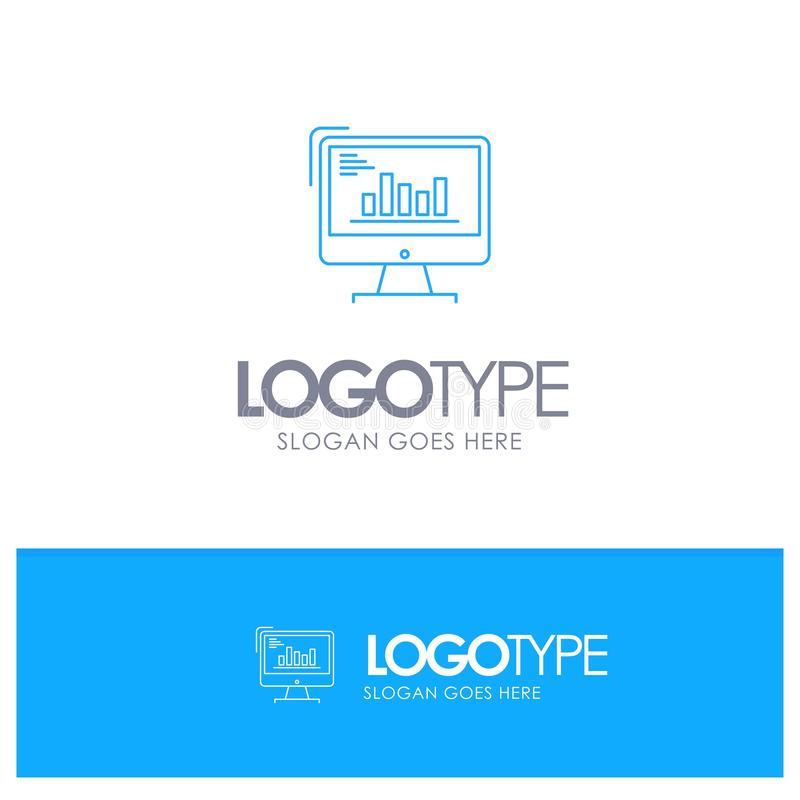 Chart, Analytics, Business, Computer, Diagram, Marketing, Trends Blue outLine Logo with place for tagline vector illustration