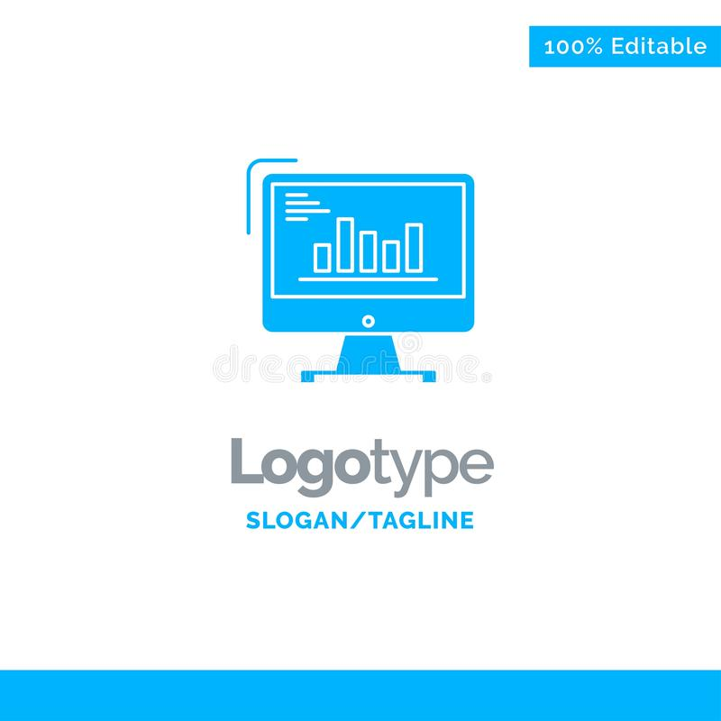 Chart, Analytics, Business, Computer, Diagram, Marketing, Trends Blue Solid Logo Template. Place for Tagline vector illustration