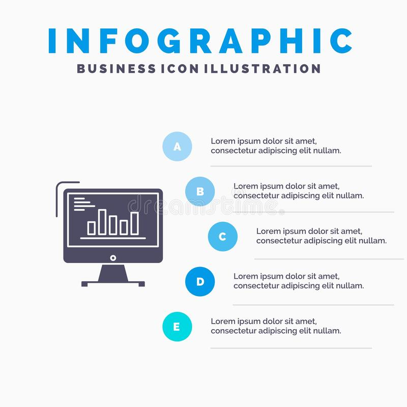 Chart, Analytics, Business, Computer, Diagram, Marketing, Trends Solid Icon Infographics 5 Steps Presentation Background royalty free illustration