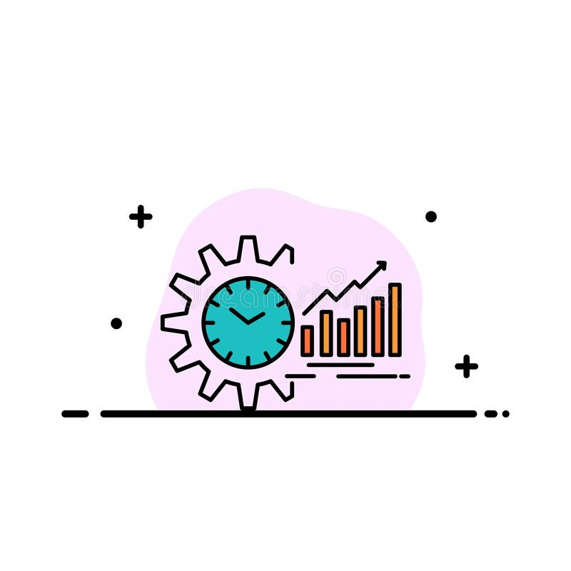 Chart, Analytics, Graphs, Market, Schedule, Time, Trends  Business Flat Line Filled Icon Vector Banner Template stock illustration