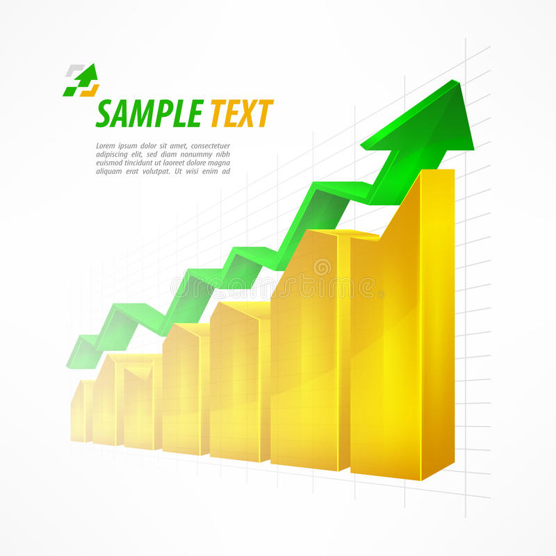 Chart with arrow text on white vector illustration