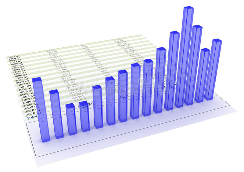 Chart bars. 3d colored chart bars on financial printout royalty free illustration
