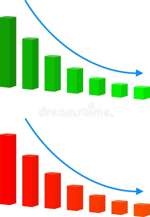 Chart with bars declining vector icon. Decrease sign icon. Finance graph symbol. Vector on white background stock illustration