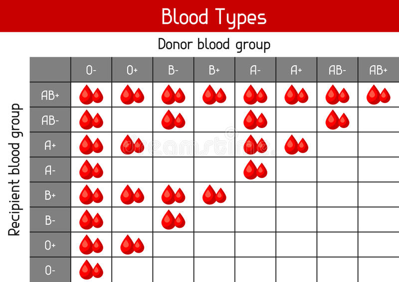 Chart of blood types in drops. Medical and healthcare infographic vector illustration