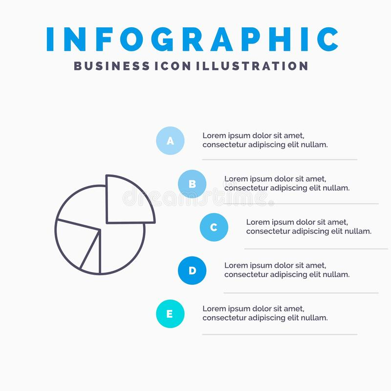Chart, Business, Diagram, Finance, Graph, Pie, Statistics Line icon with 5 steps presentation infographics Background stock illustration