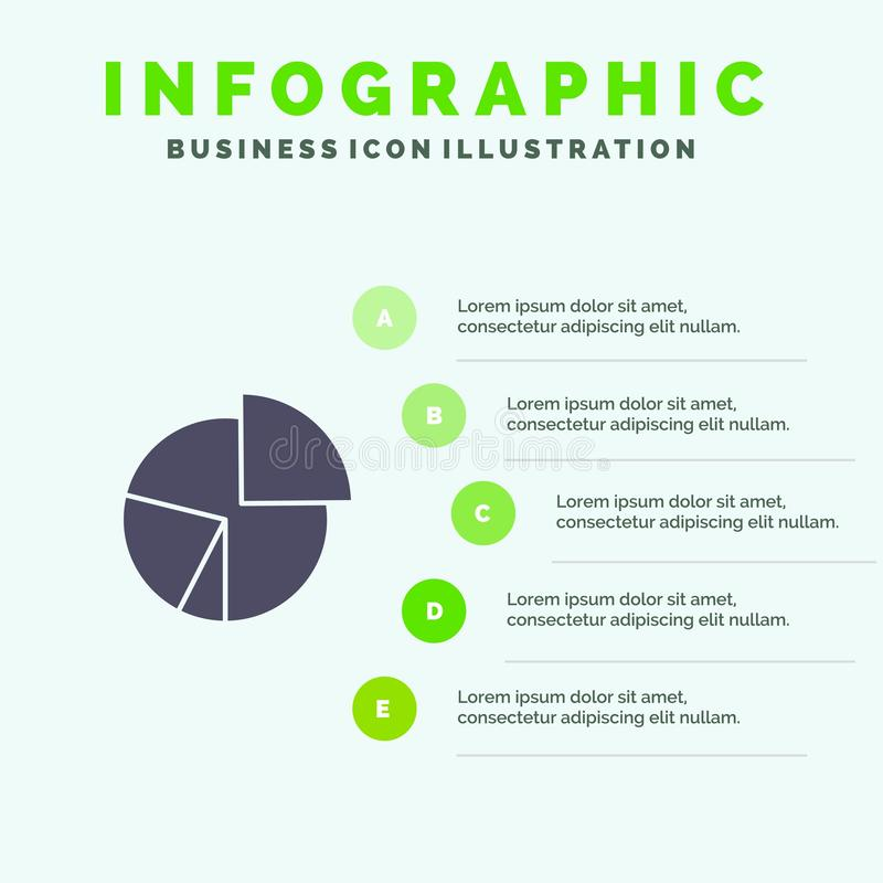 Chart, Business, Diagram, Finance, Graph, Pie, Statistics Solid Icon Infographics 5 Steps Presentation Background vector illustration