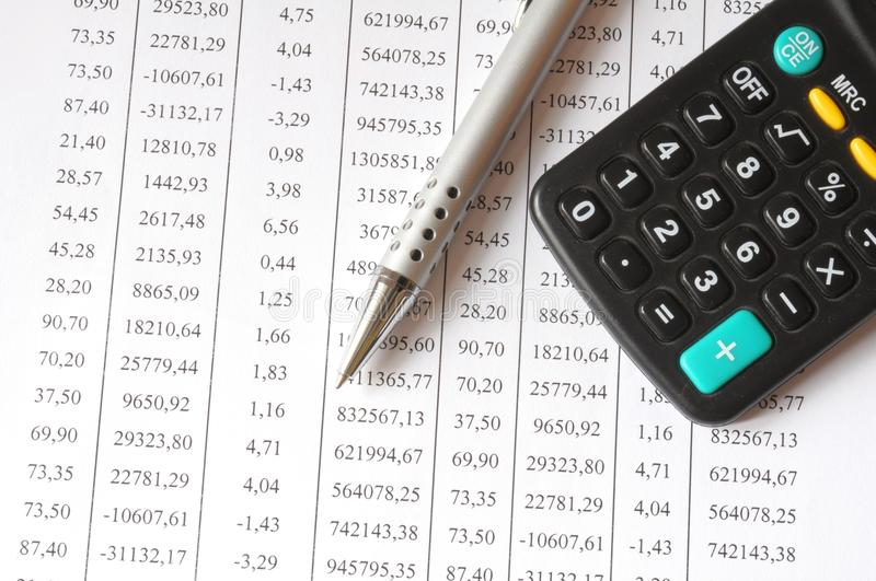 Download Chart With Calculator And Pen Stock Image - Image: 12495791