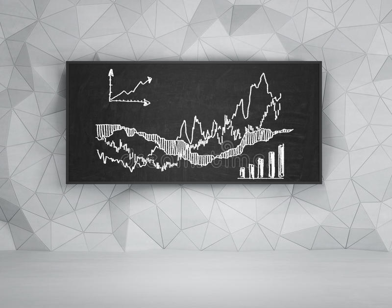 Chart on chalk board,. Drawing stock chart on chalk board stock photos