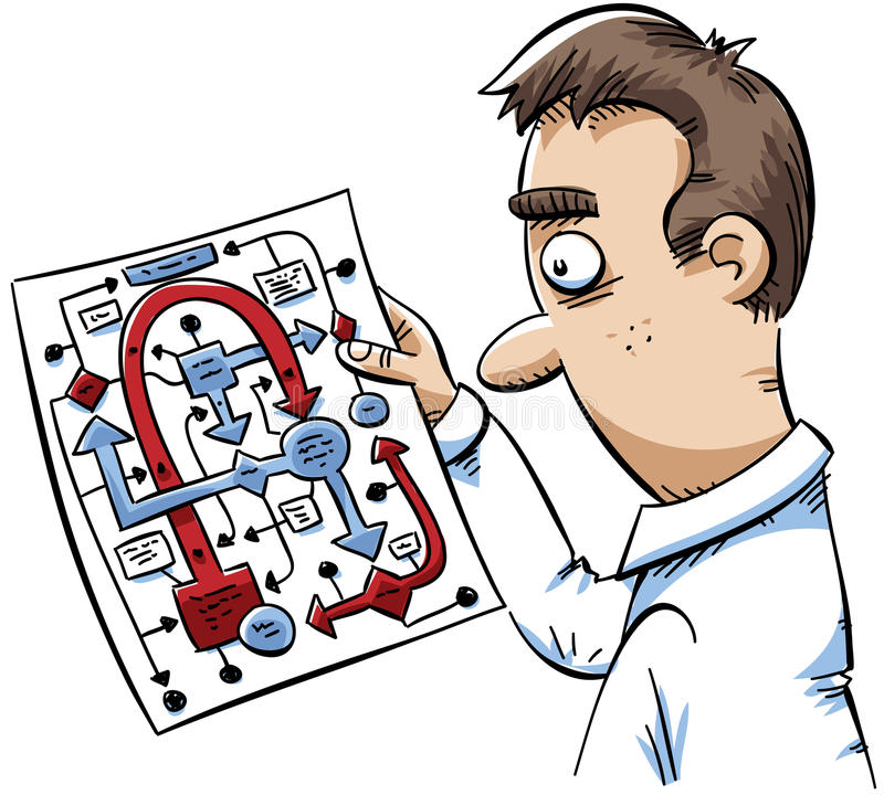 Chart Confusion. A cartoon man is confused by a complicated flowchart diagram stock illustration