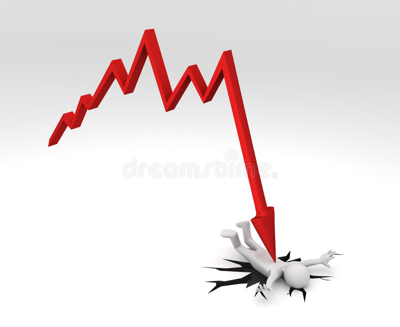 Download Chart Crashing Down On Person Stock Illustration - Image: 12596554