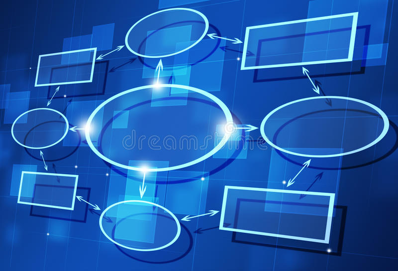 Chart Diagram. Abstarct business flow chart diagram on blue background stock illustration