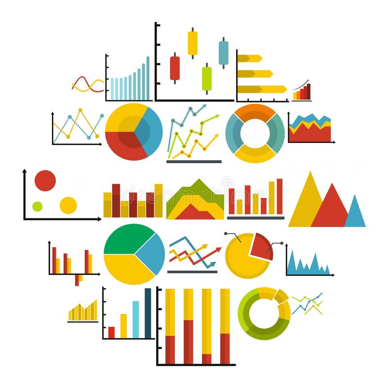 Chart diagram icon set isolated, flat style royalty free illustration