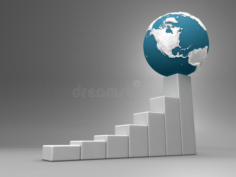 Chart With Earth - America royalty free illustration