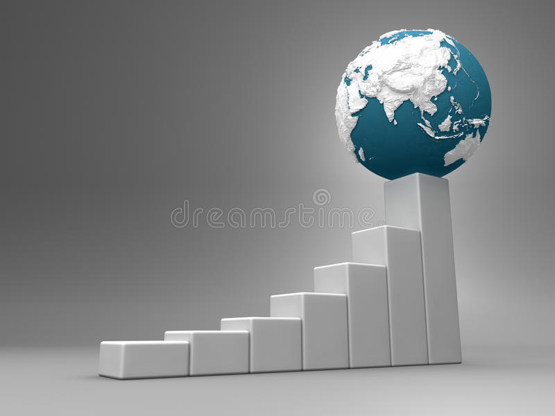 Chart With Earth - Asia Stock Image