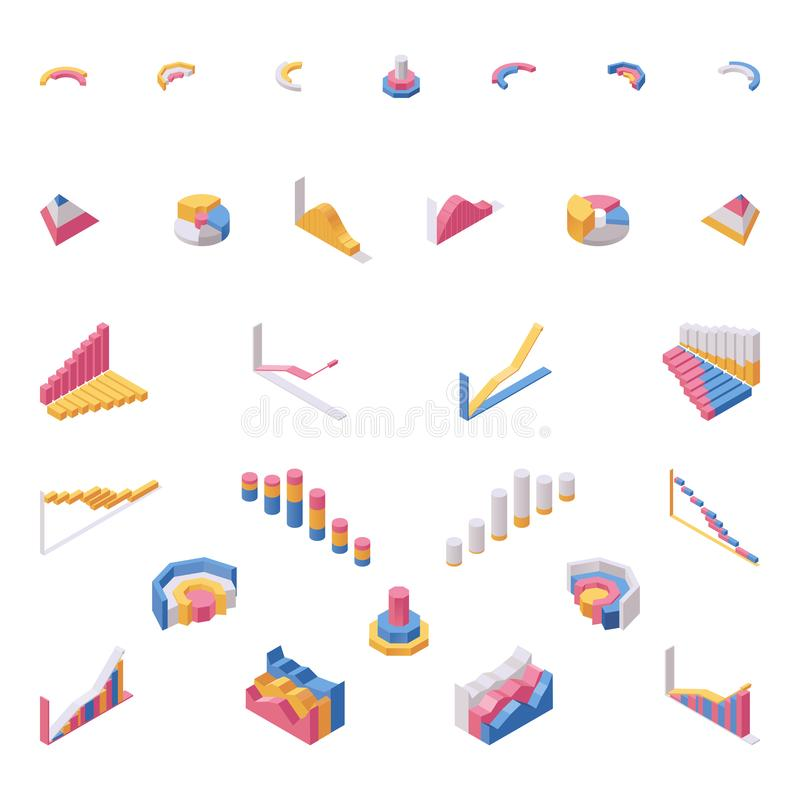 Chart elements isometric vector illustrations set. Data visualization, statistical information representation, economic vector illustration