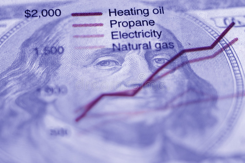 Chart of Energy Use. Closeup of newspaper clipping with chart of energy usage stock photos
