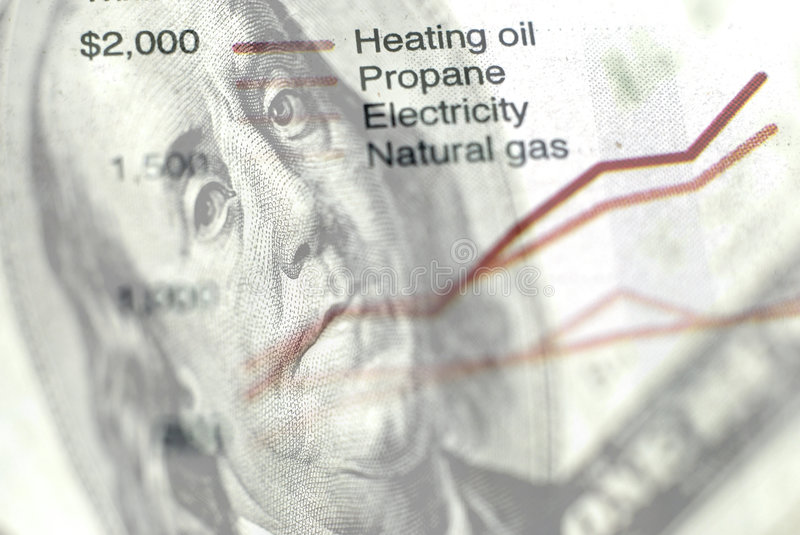 Chart of Energy Use. Closeup of newspaper clipping with chart of energy usage stock images