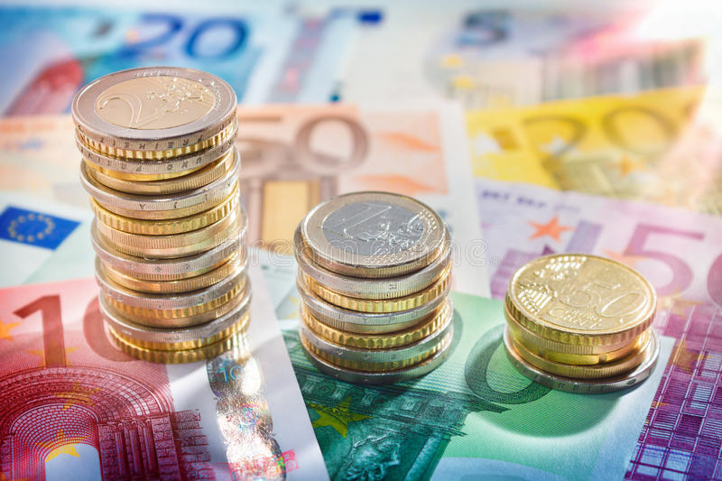Chart of euro currency - concept of increase. Banknotes background stock photography