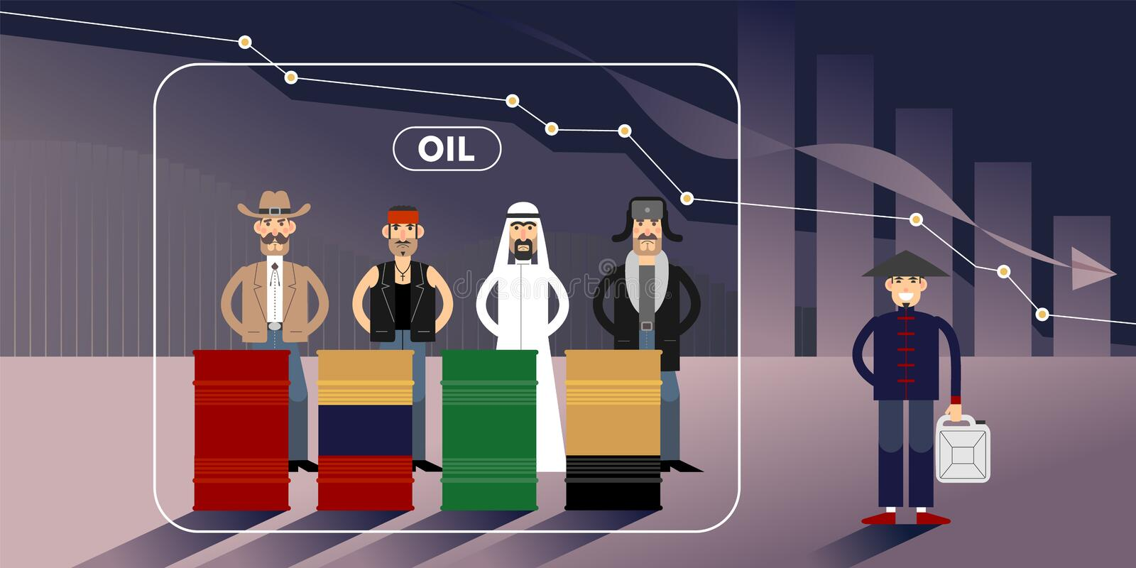 Oil price chart illustration with personages. Chart of falling oil prices with different national character personages stock illustration