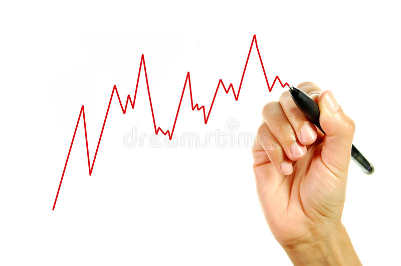 Chart finance. Hand drawing a line graph royalty free stock photo