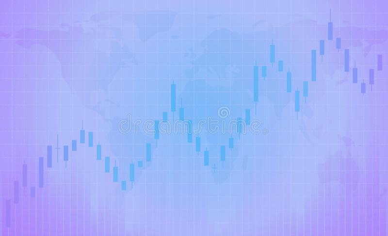 Chart of forex candles, stock market. Purple background with grid. Registration of trade on the stock exchange, advertising, banners. The candlestick chart is royalty free illustration