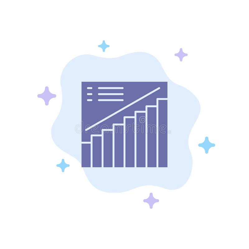 Chart, Graph, Analytics, Presentation, Sales Blue Icon on Abstract Cloud Background vector illustration
