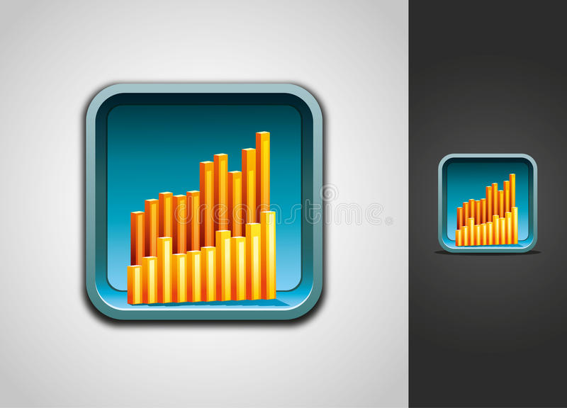 Download Chart graph icon stock vector. Image of button, blue - 24593632