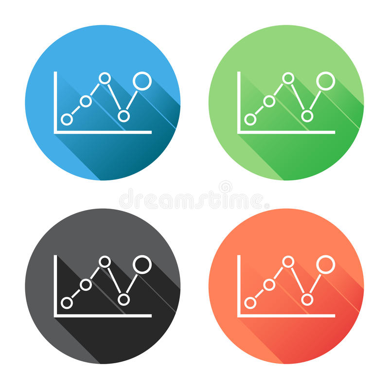 Chart graph icon with long shadow. Business flat vector illustration on blue, green, black and orange background. stock illustration