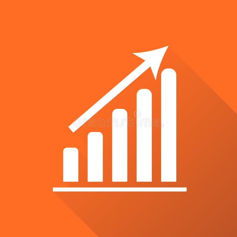 Chart graph icon with long shadow. Business flat vector illustration on orange background. vector illustration