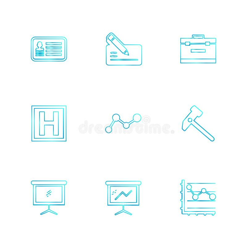 Chart , graph , percentage , navigation , share , eps icons set. Chart , graph , percentage , navigation , share , money , id card , naviagation , breifcase stock illustration