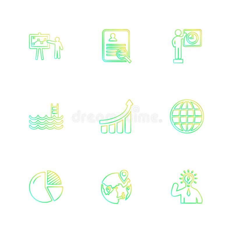 Chart , graph , percentage , navigation , share , eps icons set. Chart , graph , percentage , navigation , share , money , id card , naviagation , breifcase vector illustration