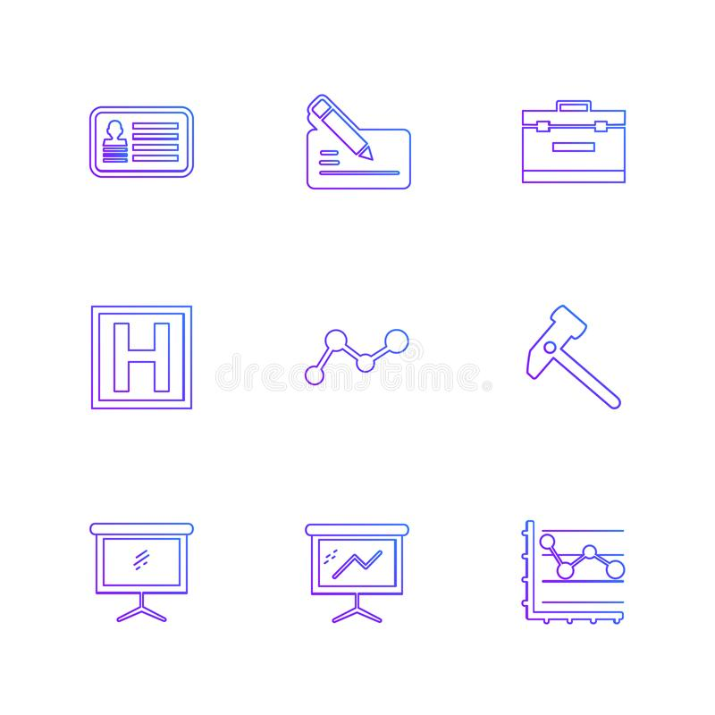 Chart , graph , percentage , navigation , share , eps icons set. Chart , graph , percentage , navigation , share , money , id card , naviagation , breifcase royalty free illustration
