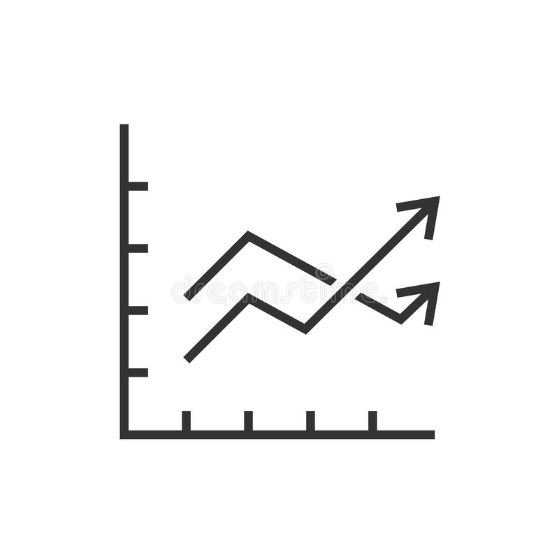 Chart graph with two arrows. Outline icon vector illustration