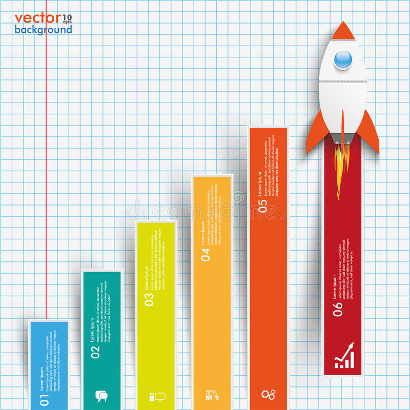 Chart Growth Colored Bars Rocket Checked Paper stock illustration