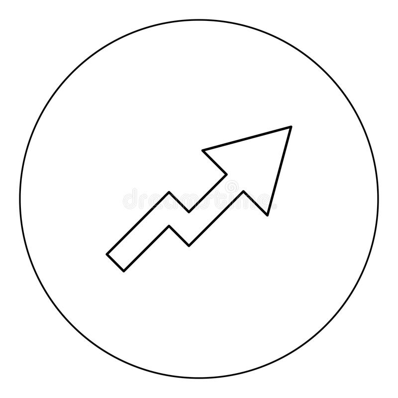 Chart of growth icon black color in circle vector illustration isolated royalty free illustration