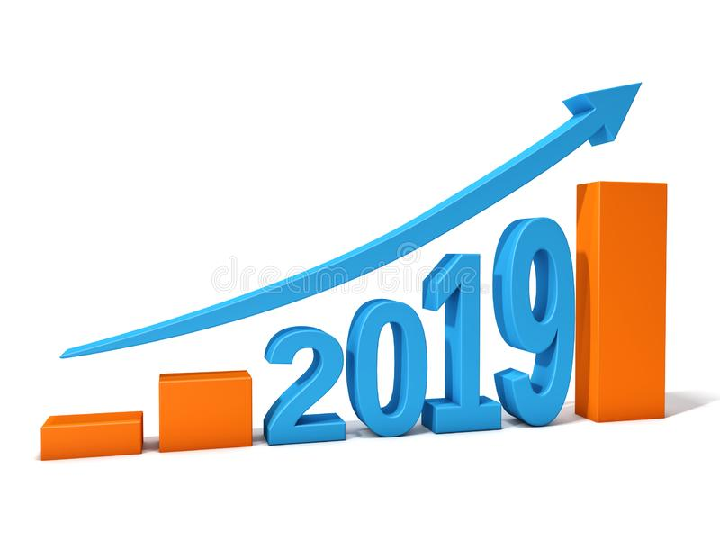 2019 chart growth. 2019 write chart with a growth arrow with white background, 3d rendering vector illustration
