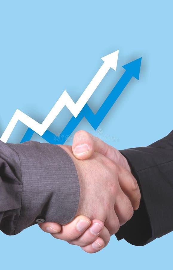 Chart with handshake royalty free stock photo