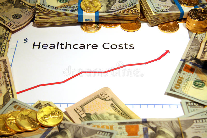 Chart of healthcare rising up with money and gold stock photo