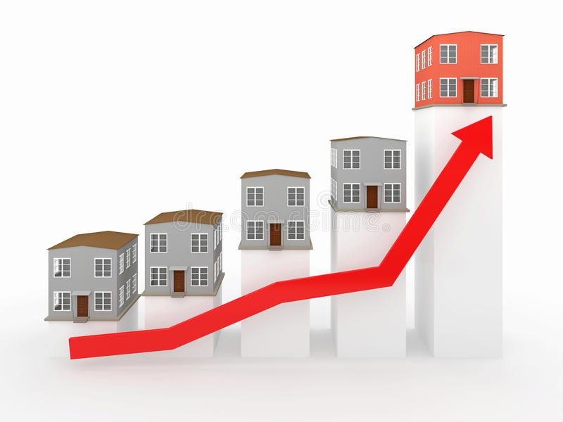 Chart with houses. Chart showing financial real estate growth stock illustration