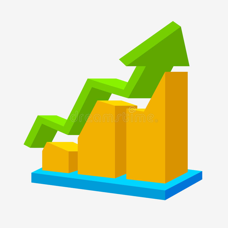 Chart icon. Arrow up statistic sign on white. Vector illustration stock illustration