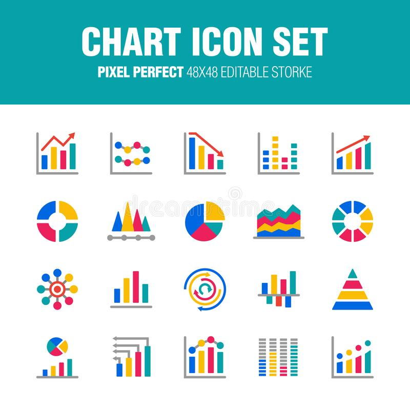 CHART ICON SET - FLAT. This is a set of chart icons. Editable stroke. 48×48 Pixel Perfect stock illustration