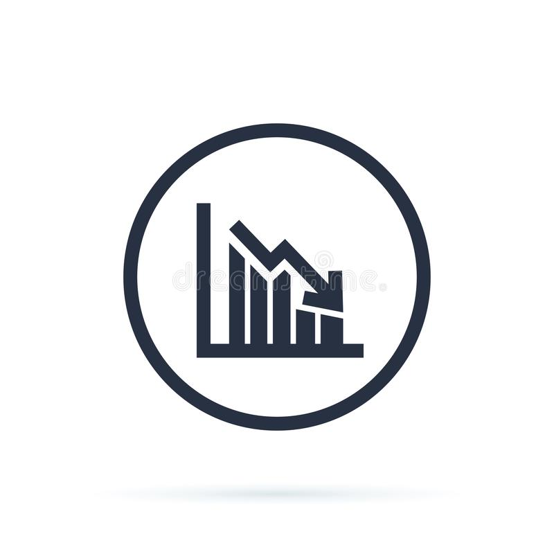 Chart icon in trendy flat style isolated on background. Grow chart sign page symbol for your web site design stock illustration