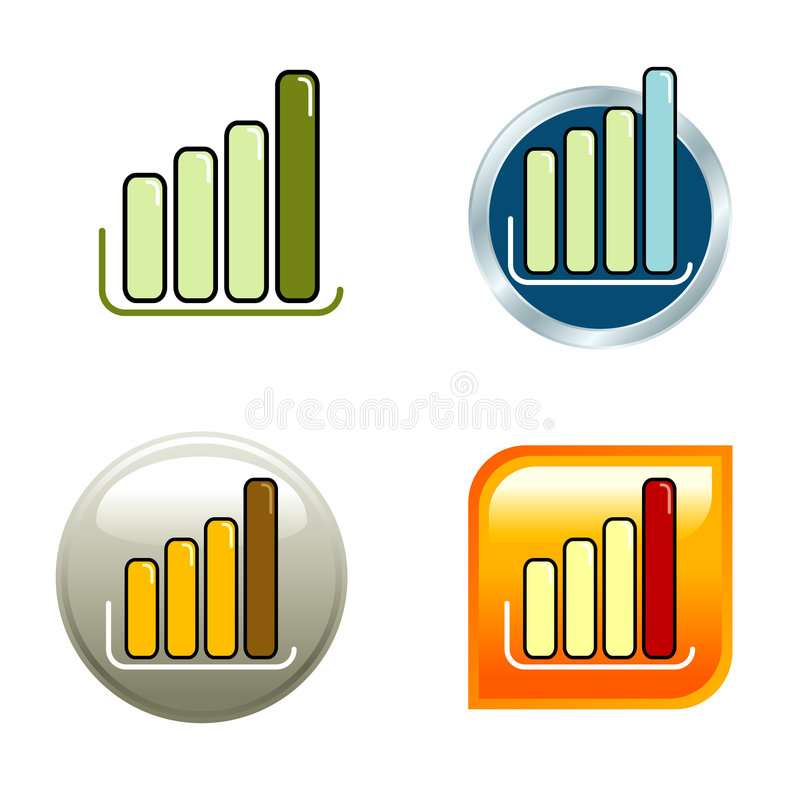 Chart Icons. 4 different chart icon for internet use stock illustration