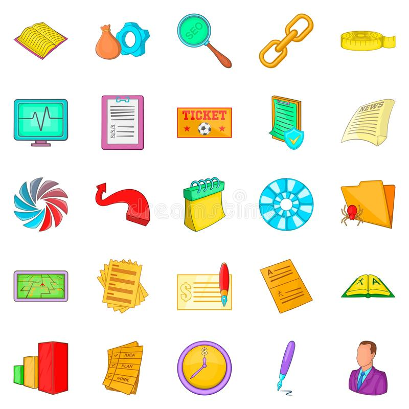 Chart icons set, cartoon style. Chart icons set. Cartoon set of 25 chart vector icons for web isolated on white background stock illustration