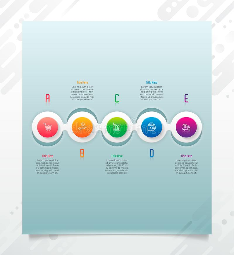 Chart infographic vector design with modern style and 5 options for business.Option infographic can be used for finance, vector illustration