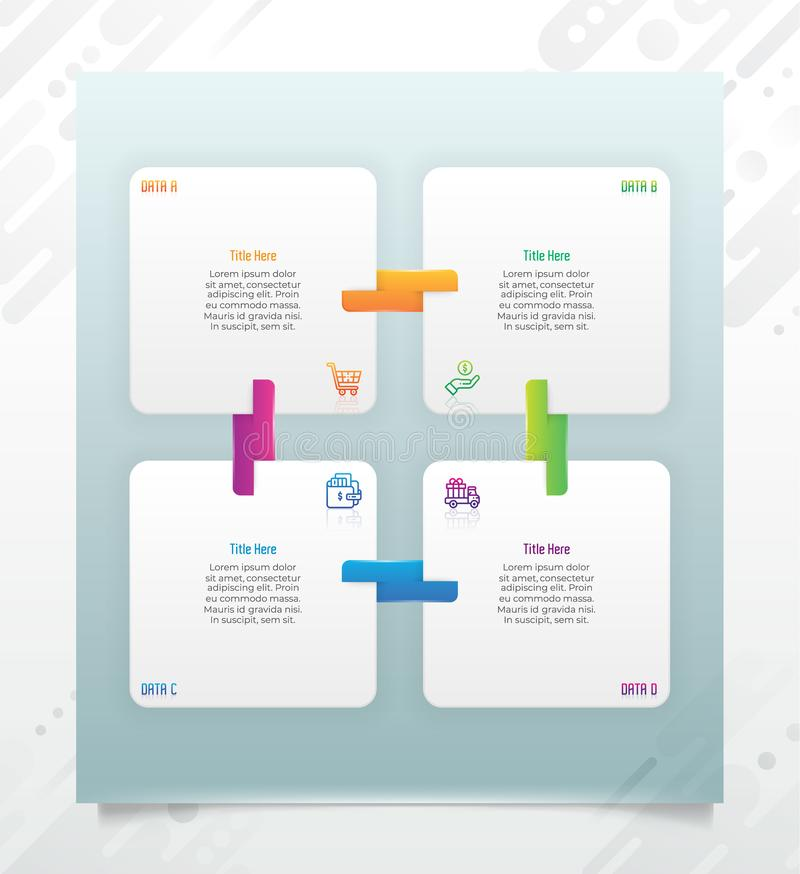 Chart infographic vector design with modern style and 4 options for business.Option infographic can be used for finance, royalty free illustration