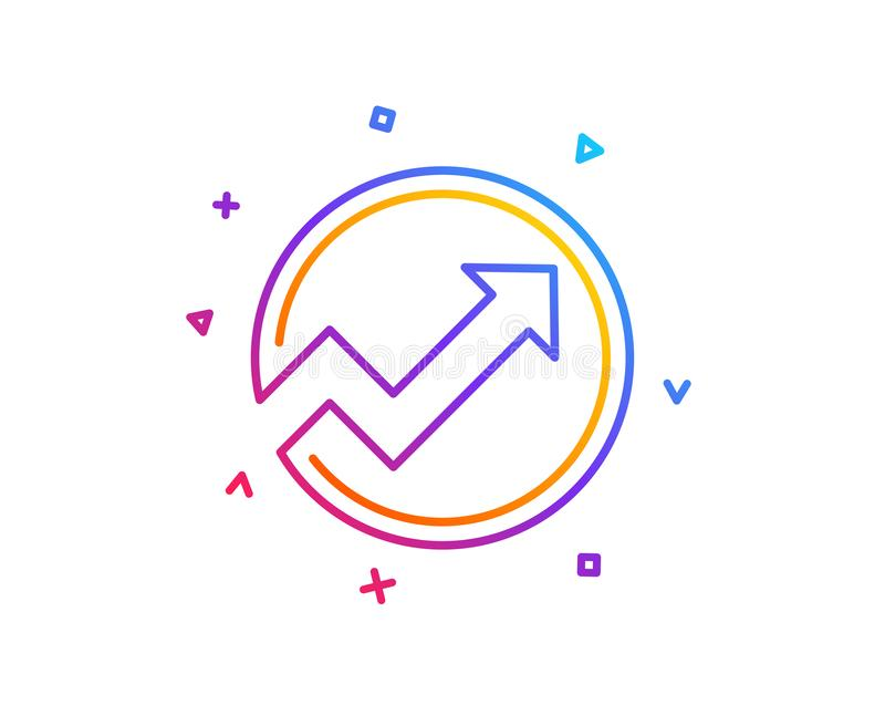 Chart line icon. Report graph in circle sign. Vector royalty free illustration