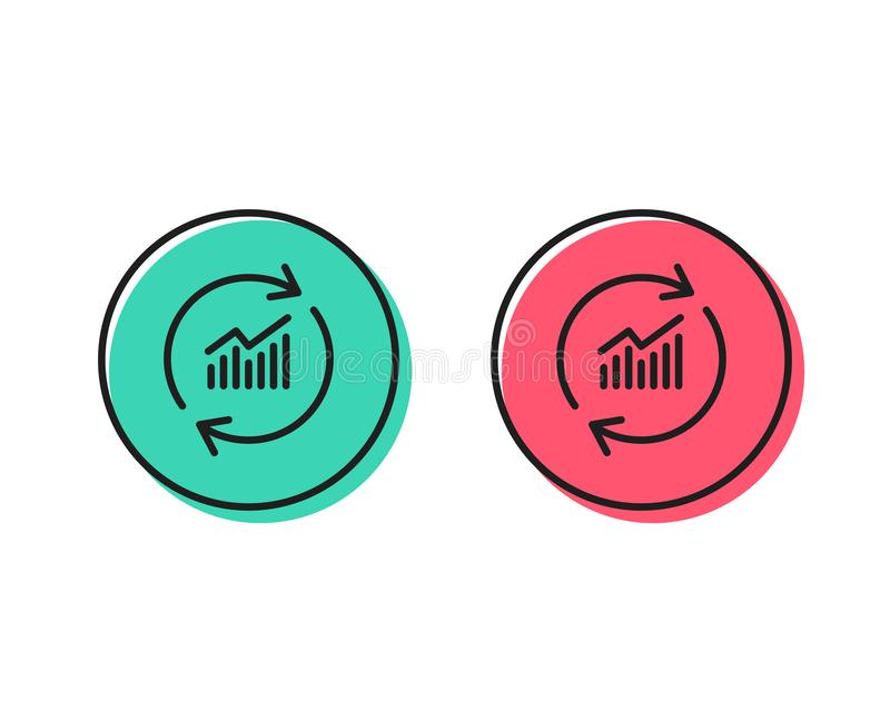 Chart line icon. Update Report graph sign. Vector. Chart line icon. Update Report graph or Sales growth sign. Analysis and Statistics data symbol. Positive and stock illustration