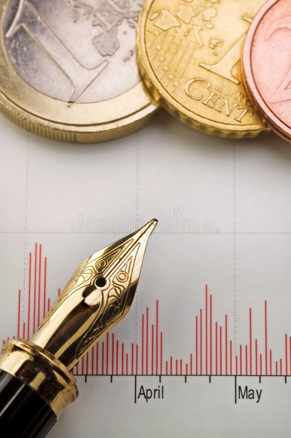Chart, Money And Fountain Pen Stock Images